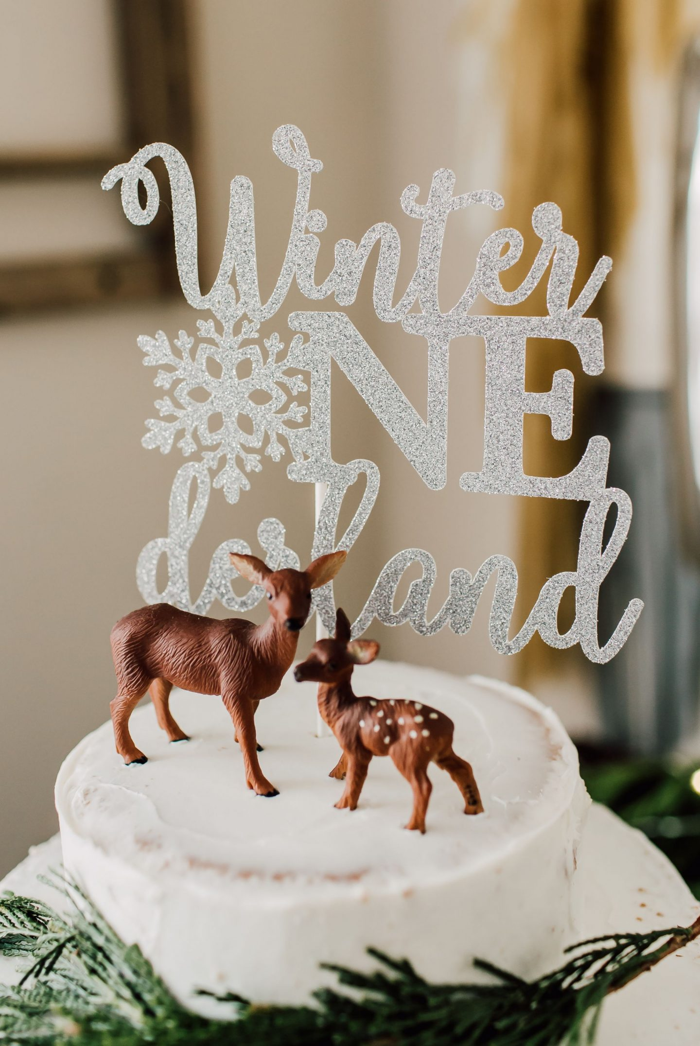 winter onederland cake topper
